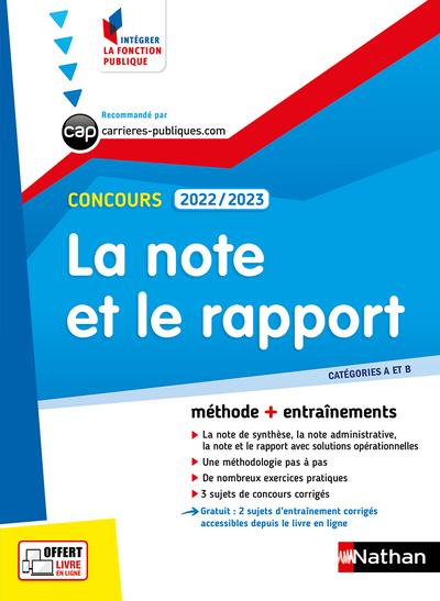 LA NOTE ET LE RAPPORT - CATEGORIES A ET B - CONCOURS 2022/2023
