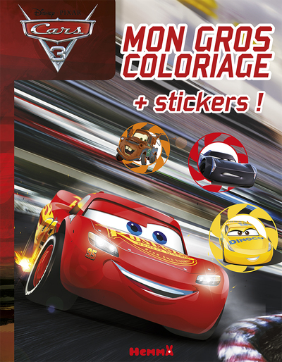 CARS 3 MON GROS COLORIAGE + STICKERS !
